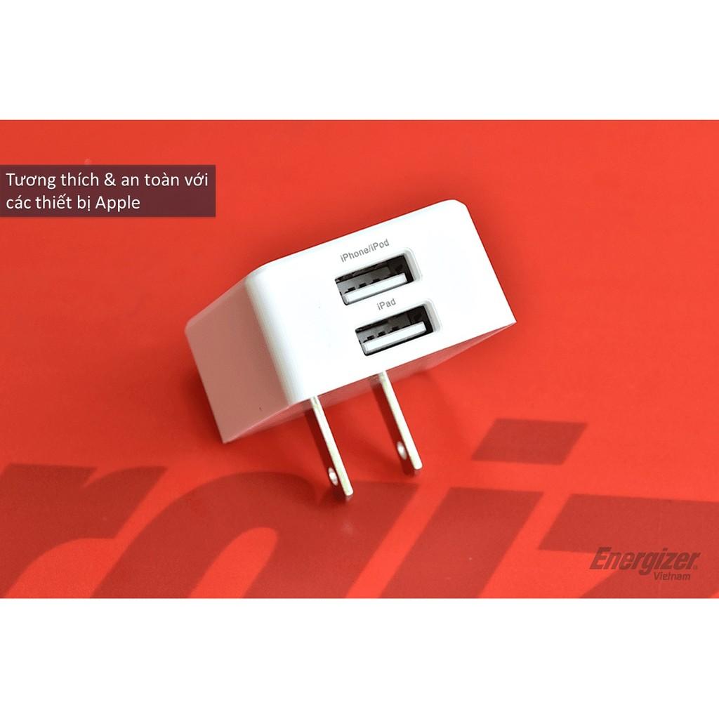 Sạc Energizer UL 3.4A 2USB + Cáp Lightning