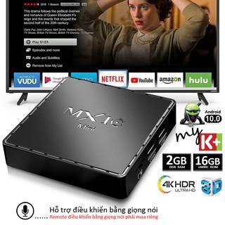 Tivi box Ram 2G bộ nhớ 16G Android 10.0 tv box xem video 4K hỗ trợ giọng nói bảo hành 12 tháng MX10MINI android tv box