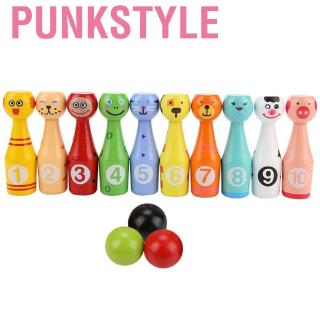 Punkstyle Children Educational Animal Bowling Bottle Ball Kids Outdoor Game Wooden Toy