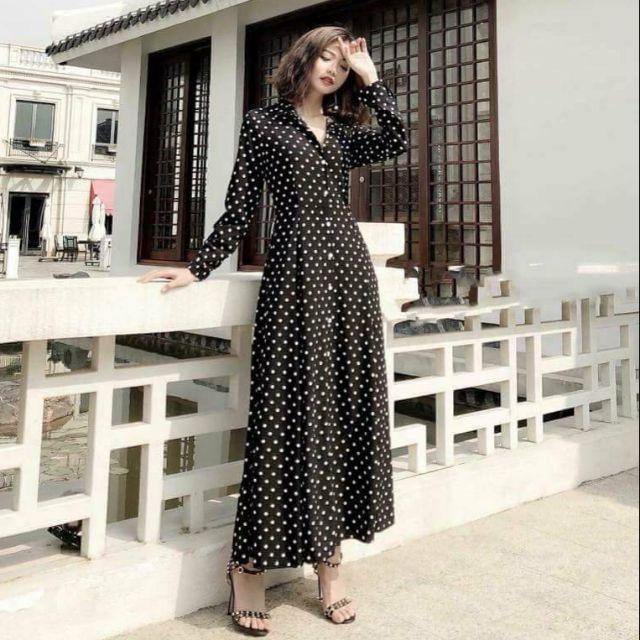 Đầm maxi bi tay dài (kèm hình thật)