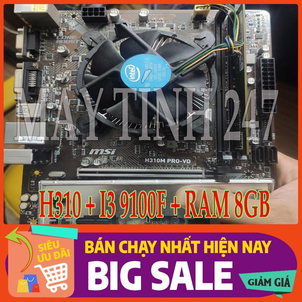 Bảng giá Combo Main - CPU MSI H310 - I3 9100F - RAM 8GB Phong Vũ