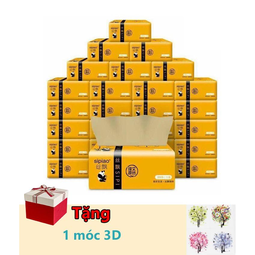 Thùng giấy ăn gấu trúc ( 27 gói) tặng kèm 1 móc 3d