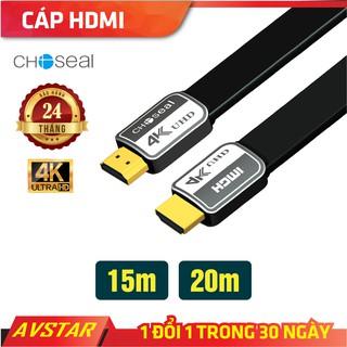 【Chính hãng】dây Cáp HDMI Choseal 2.0/4K Cao Cấp tốc độ cao, Loại Dẹt, 15m, 20m, tivi, máy tính, camera