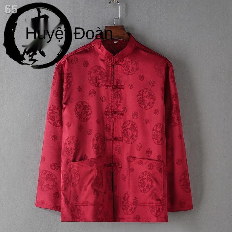 Phong cách Trung Quốc Tang suit nam dài tay 2021 trang phục dành cho người cha niên và cao tuổi áo mỏng rộng rãiF
