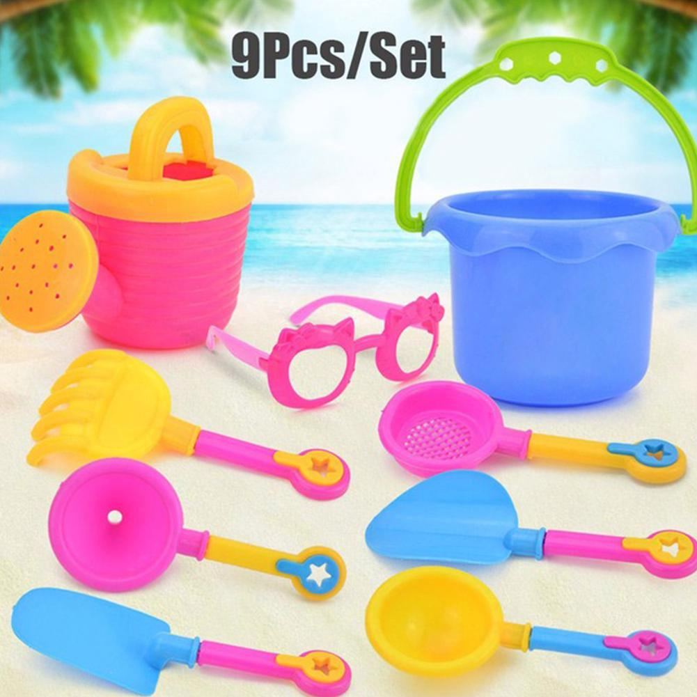 9pcs/Set Gifts Kettle Water Toy Set Sand Play Colorful Bucket Simulation Plastic Glasses Beach Funnel Random Color