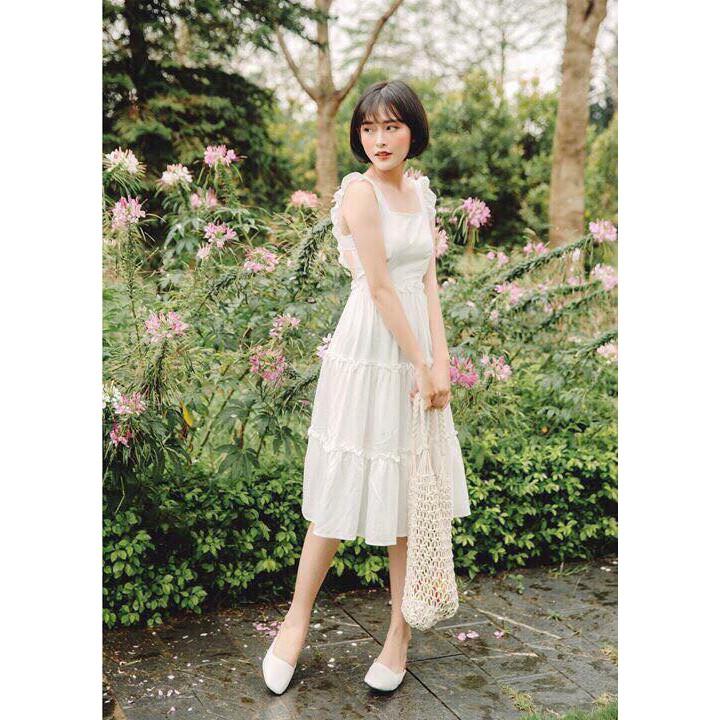 Đầm trắng, đầm xòe nơ lưng Vilook Dress siêu xinh