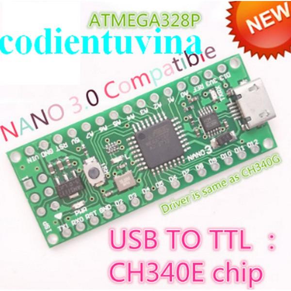 Mạch arduino Nano CH340 cổng micro USB (NANO V3.0 5V 16M ATMEGA328)