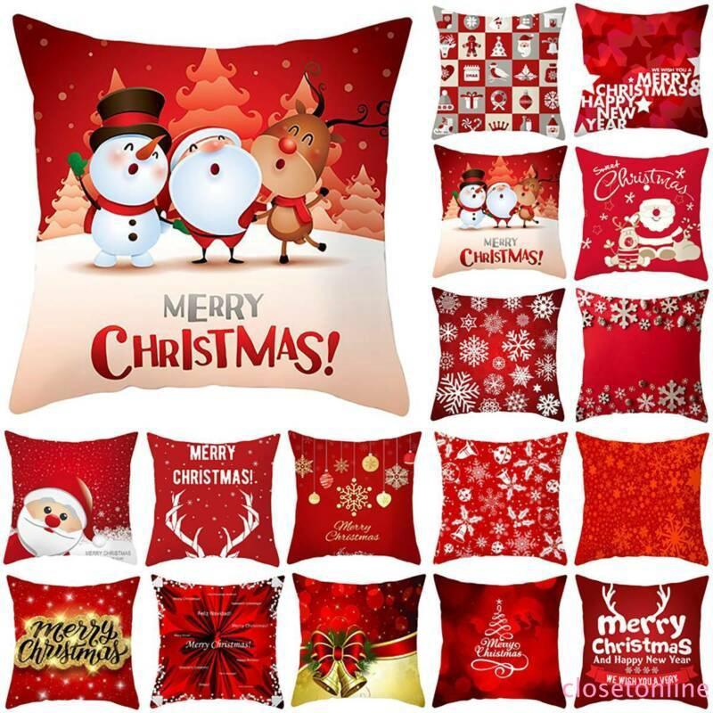 Vỏ bọc áo gối in họa tiết người tuyết/ ông già Noel chủ đề Giáng Sinh trang trí nhà cửa