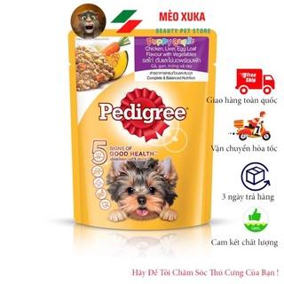 Thức ăn cho chó con dạng sốt Pedigree vị gà, gan, trứng và rau 80g mèo xuka thumbnail