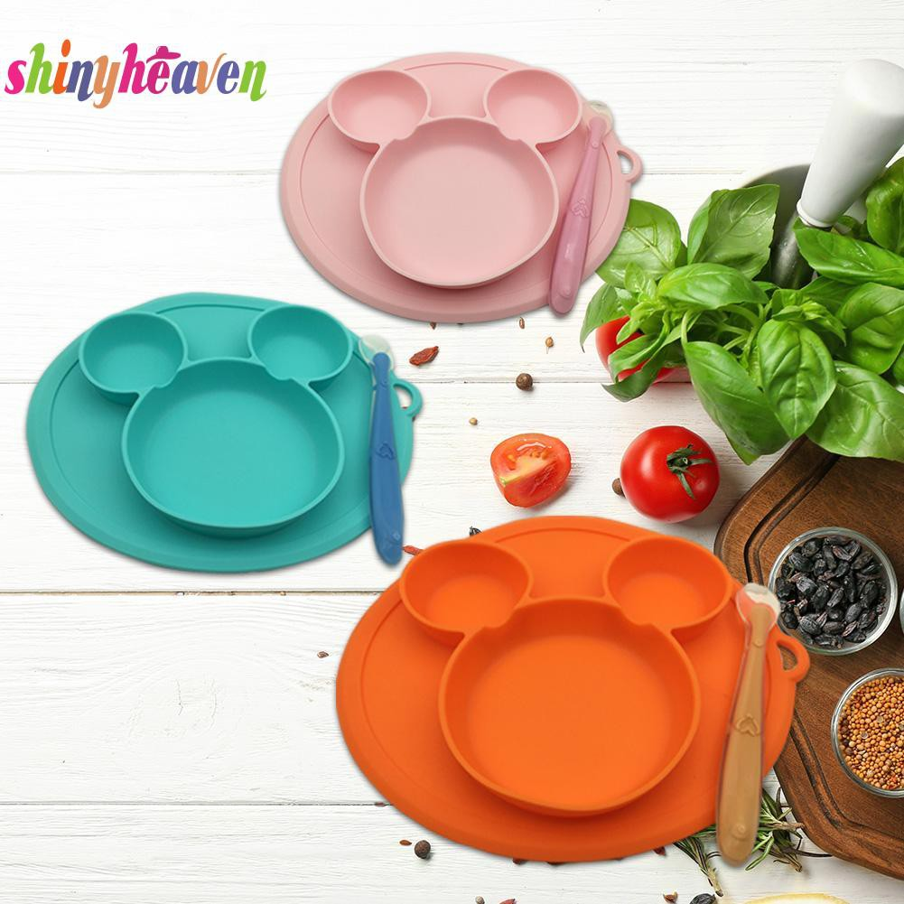 【Yuiiki】Infant Silicone Plate Lovely with Spoon Cushion Feeding Fruit Snack Bowl