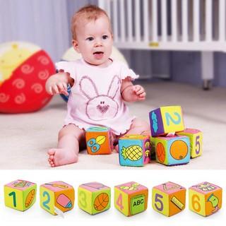 6Pcs/Set Infant Baby Toys Plush Block Cloth Cube Blocks Building Rattles