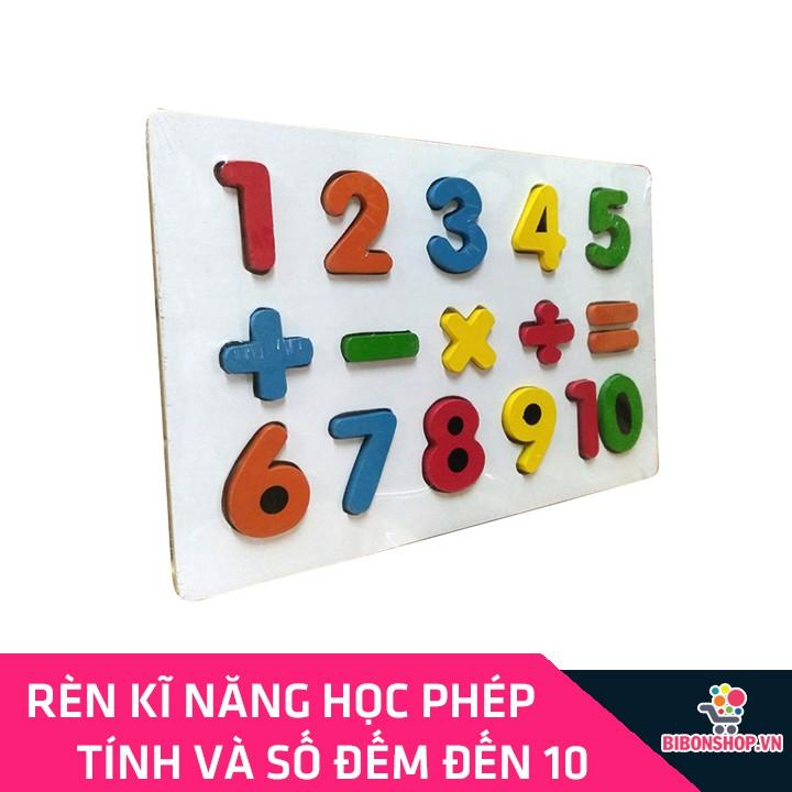 Giáo Cụ Montessori Bảng Ghép 10 Số Nổi Và Phép Tính Bằng Gỗ Tự Nhiên Giúp Bé Phát Triển Tư...