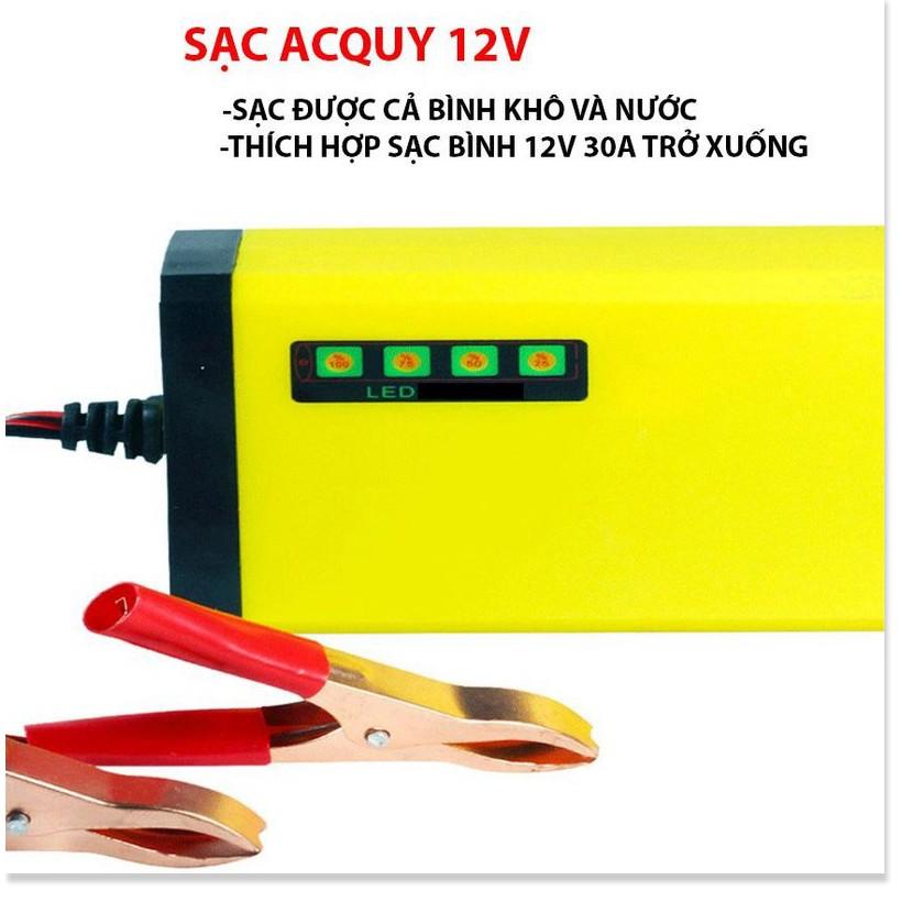 Bộ sạc bình ắc quy tự động ngắt 12V 2Ah-20Ah sạc acquy xe máy, xe ô tô, có đèn led báo đầy