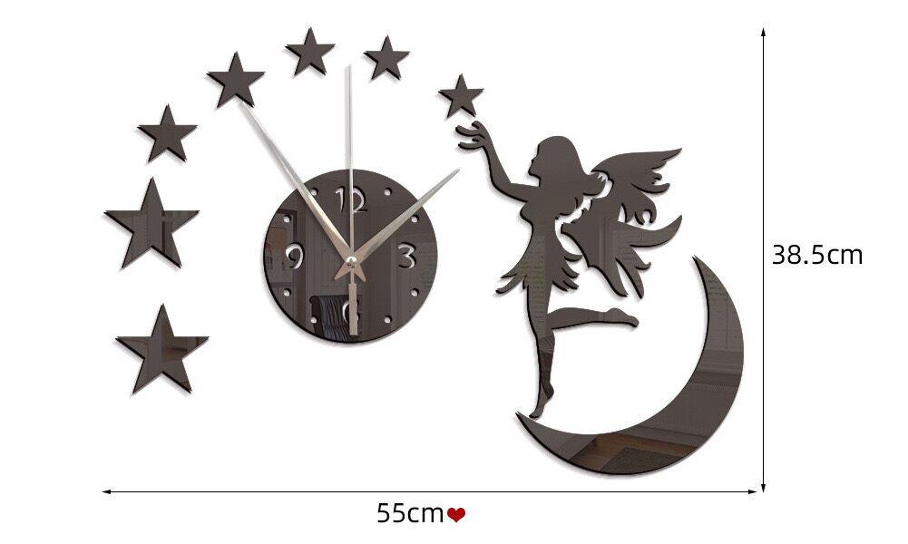 Sticker Dán Tường Hình Đồng Hồ Và Mặt Trăng Độc Đáo