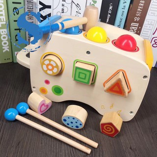 3 in 1 Wooden Educational Set Pounding Bench Toys with Slide out Xylophone and Shape Matching Blocks