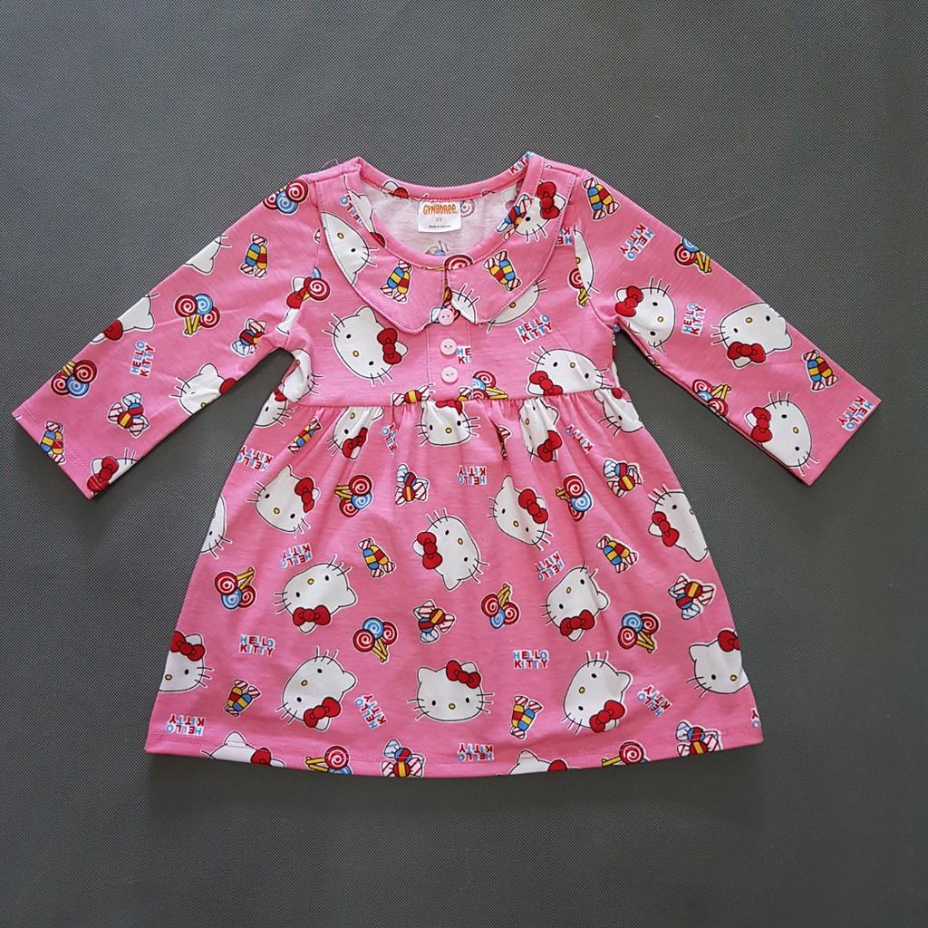 Đầm thun cotton tay dài hoạt hình kitty bé gái