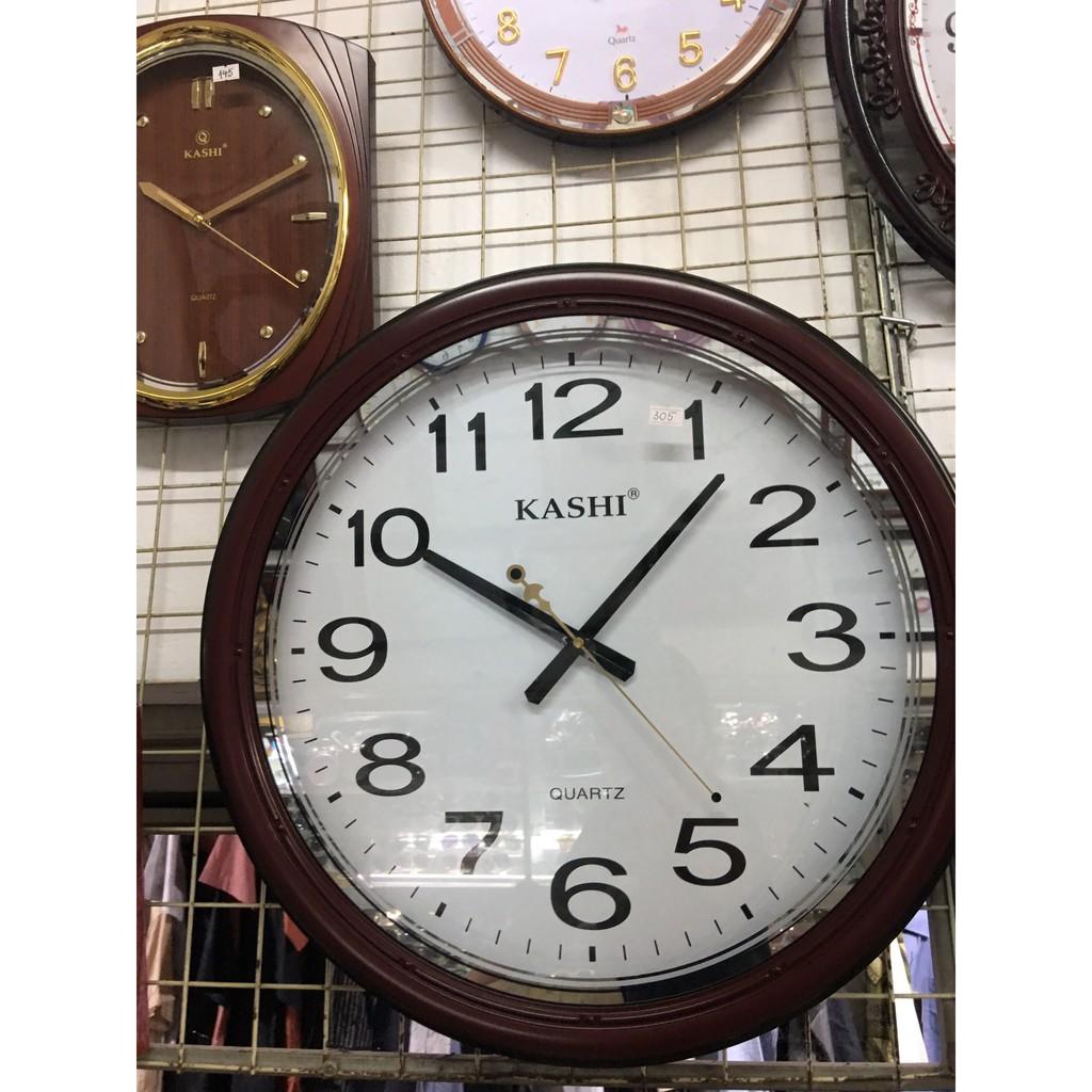 Đồng hồ KASHI tròn viền màu nâu gỗ