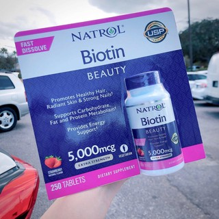 Biotin Natrol 5000mg hỗ trợ tóc, móng và đẹp da