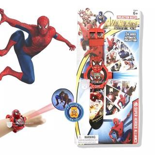 Vỉ đồ chơi đồng hồ đeo tay người nhện chiếu hình ảnh lên tường ( cho bé)