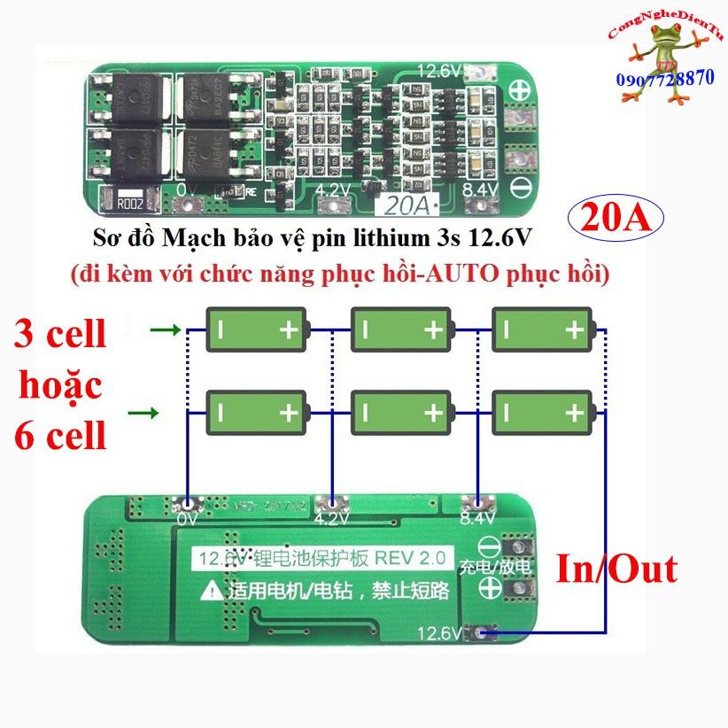 Mạch 3s 12.6v bảo vệ pin 18650 dòng xả 20A tự cân bằng tự phục hồi