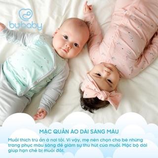 [Bu] Bộ Bu cài chéo áo dài, quần dài hoạ tiết trăng sao cho bé gái bé trai từ sơ sinh đến 6 tháng mẫu mới nhất