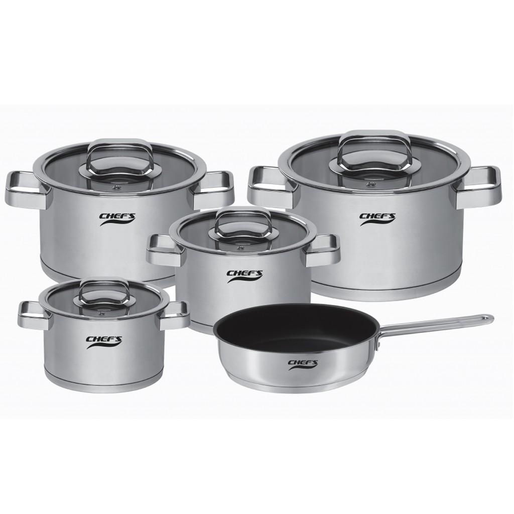 Bộ nồi inox Chefs EH-CW6304 vung kính 5 chiếc  dùng được bếp từ