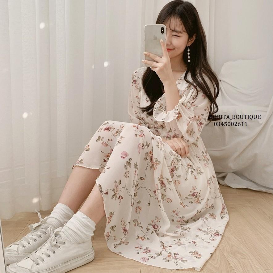 Váy hoa ullzang dáng dài cổ tim voan tơ - Đầm hoa nhí Vintage - Dorita Boutique