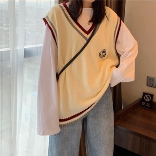 Áo sweater màu trơn họa tiết thêu phong cách Hàn Quốc cho nữ