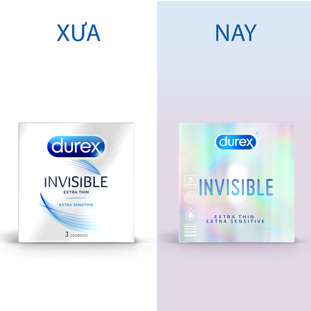 Bao cao su Durex Invisible Extra Thin Extra Sensitive 3 bao