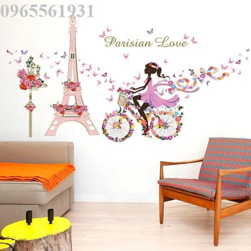 Decal dán tường cô gái đạp xe bên paris