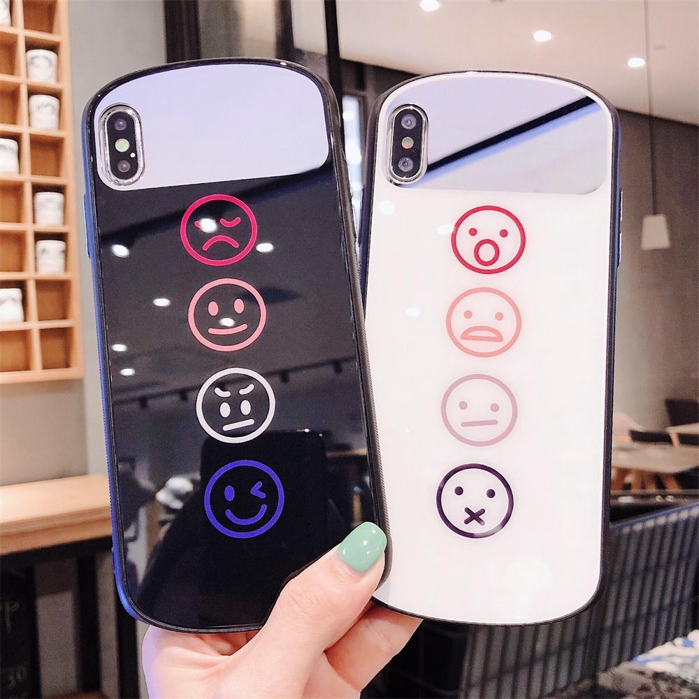 Cute Cartoon Phone case XS MAX 7Plus 8Plus X/XS XR Smile IPhone 7 8 Glass mirror Apple Couples