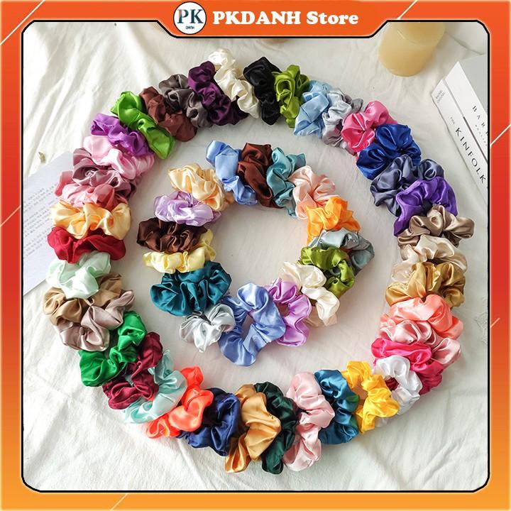 Dây cột tóc vải scrunchies phi bóng loại nhỏ, đồ buộc tóc crunchies size 11cm