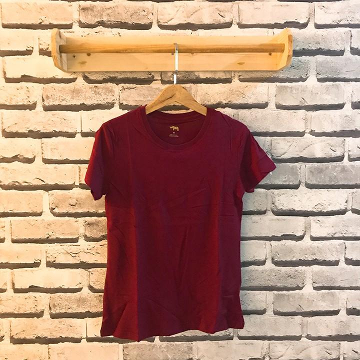 Áo thun cotton Nhật Bản cặp dễ thương đỏ đô - Áo ngắn tay không cổ
