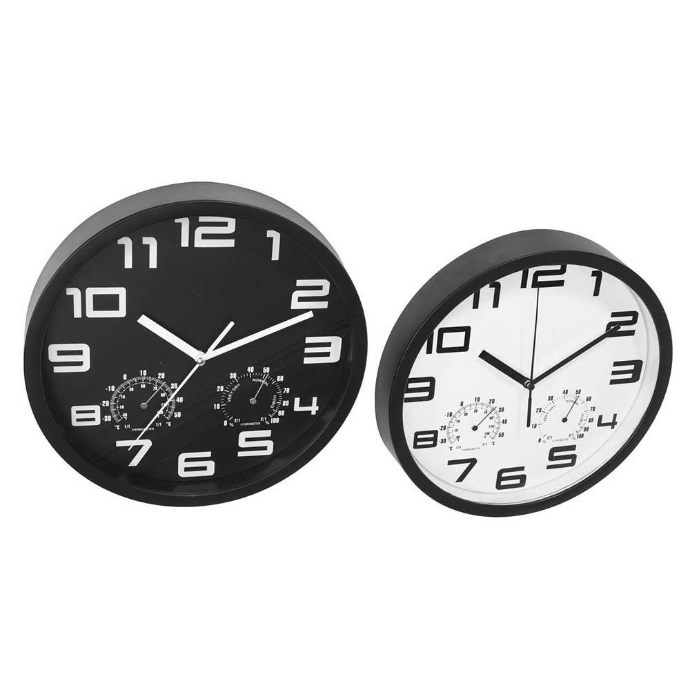 Đồng hồ treo tường JYSK Sejer nhựa đen, trắng DK25x4cm
