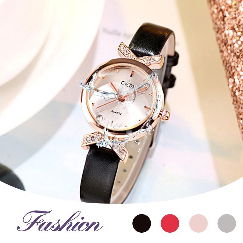 ♕ღ GEDI Watches Women's Simple Fashion Elegant Leather Belt Rhinestone Quartz Watch
