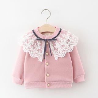 Áo khoác len phối ren cho bé