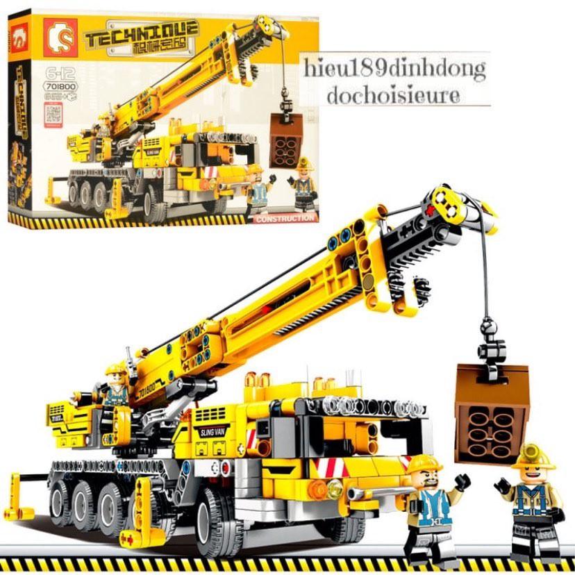Lắp ráp xếp hình NOT Lego Technic Technique Sembo Block 701800 : Xe Cẩu Kỹ Thuật Cầu trục xây dựng 665+ mảnh