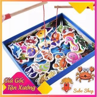 Bộ đồ chơi câu cá 💖 FREESHIP 💖 bộ đồ chơi câu cá nam châm bằng gỗ an toàn tiện dụng cho bé thỏa sức vui chơi