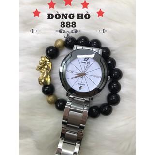 Đồng hồ nam HALEI dây thép-TẶNG 1 vòng- BL trắng mặt trắng