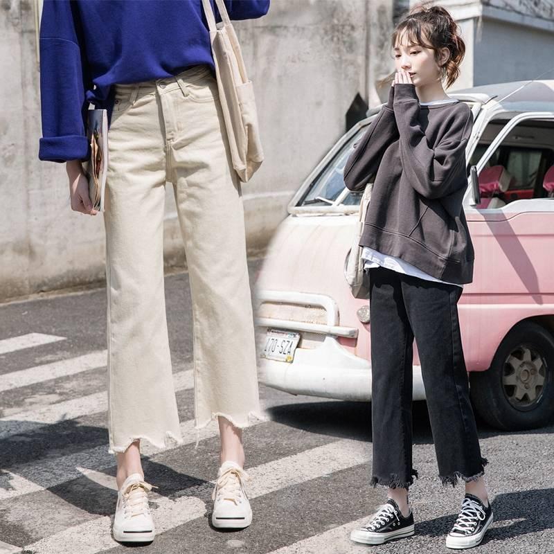 ✎◇♨Jeans female spring and summer new loose bristles Korean version broad legs straight pants black skinny students hi