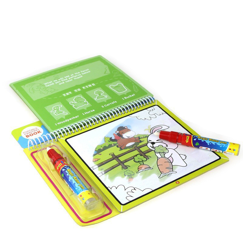 Animals Water Drawing Book with 1 Magic Pen Water Painting Board Toy Doodle Book