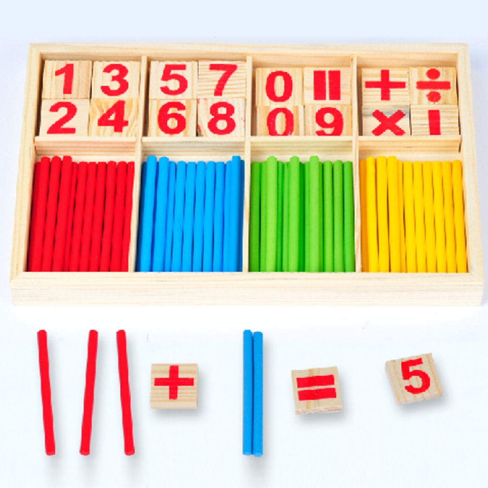 Baby Counting Sticks Toy Educational Wooden Block Building Intelligence Blocks Montessori Mathematical Children Gift