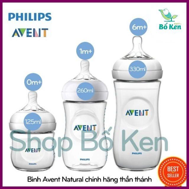 Shop Bố Ken Bình Sữa Philips Avent Natural 125/260/330ML 100% Chính Hãng [Hỗ trợ đổi Size Núm]