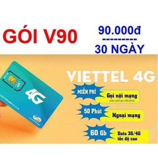 [Siêu giảm giá]-Sim 4G Viettel V90 Tặng 60Gb/tháng, 50p ngoại mạng và miễn phí gọi nội mạng-Mua về dùng luôn