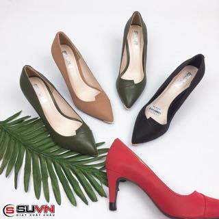Giày cao gót nhọn 6cm da mềm cổ vát