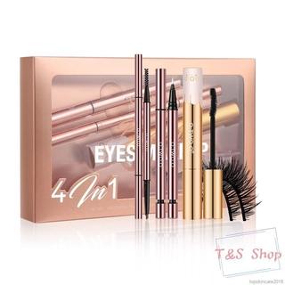 O.TWO.O 4pcs Eyes Makeup Set Eyebrow Pencil Liquid Eyeliner Volume Mascara False Eyelashes Cosmetic Kit