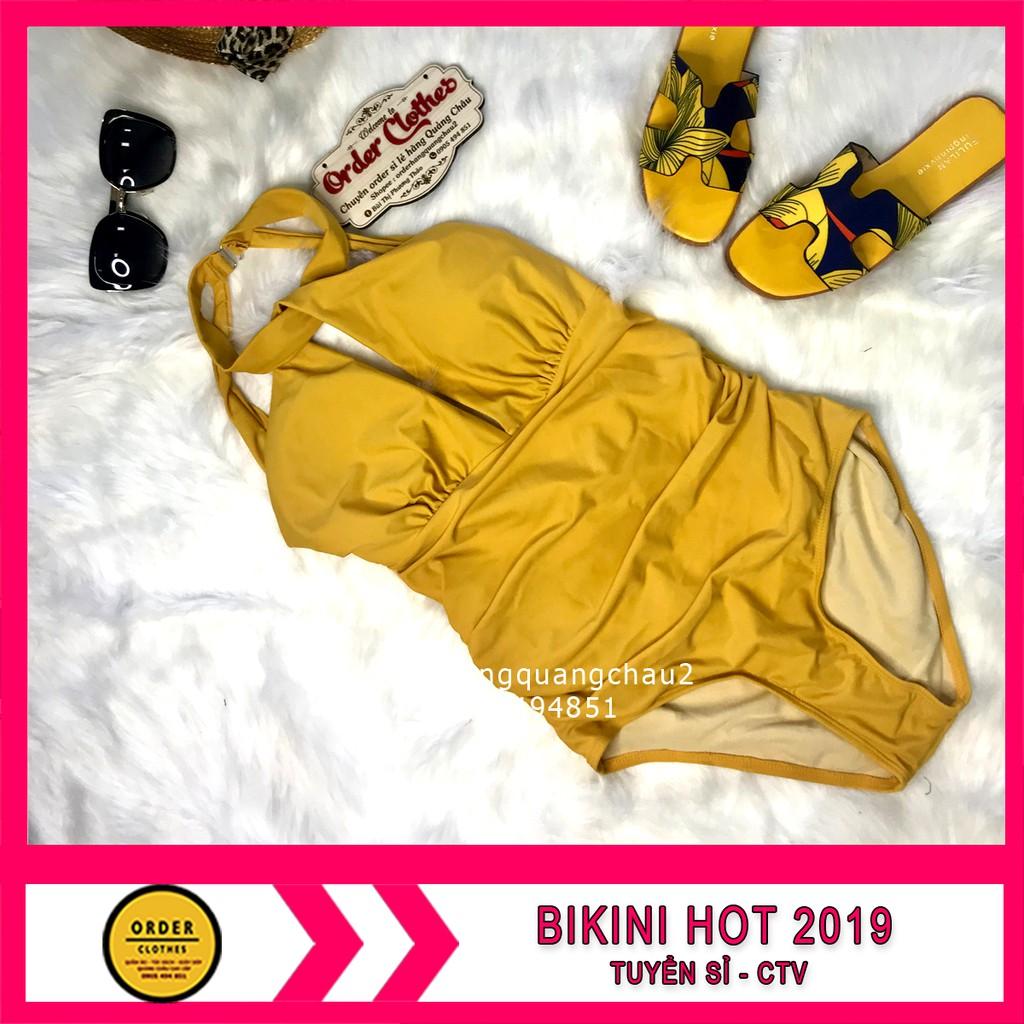 [ ] Bikini,Bộ Đồ Bơi Body Tạo Khe Màu Vàng Siêu Hot, Hàng Nhập, kèm mũ và dép