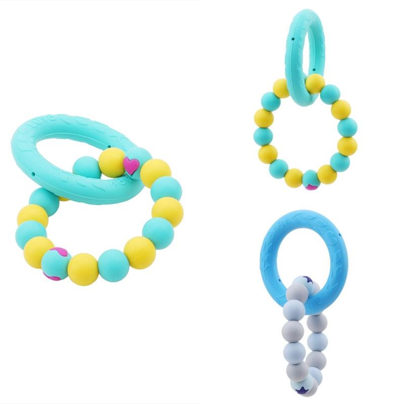 Baby Nursing Bracelets Wooden Teether Crochet Chew Beads Teething Rattles Toys Silicone Teether Bracelets
