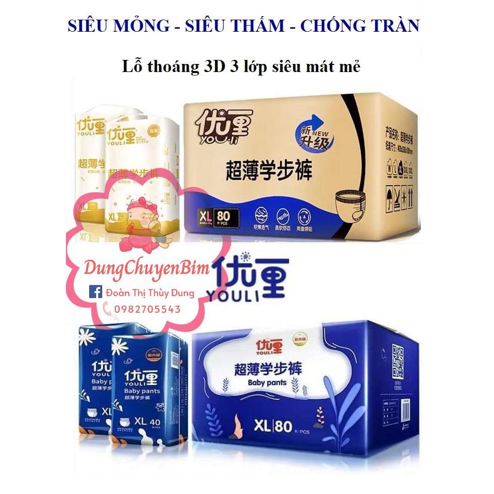 Tã Bỉm Dán/Quần YOULI XANH - GOLD Đủ Size S112/M96/M92/L84/XL80/XXL72/XXXL68