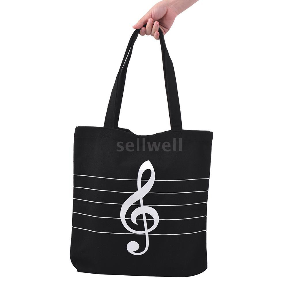 Washable Canvas Handbag Music Tote Shoulder Grocery Shopping Bag with Magnetic Button Musical High Notes Pattern